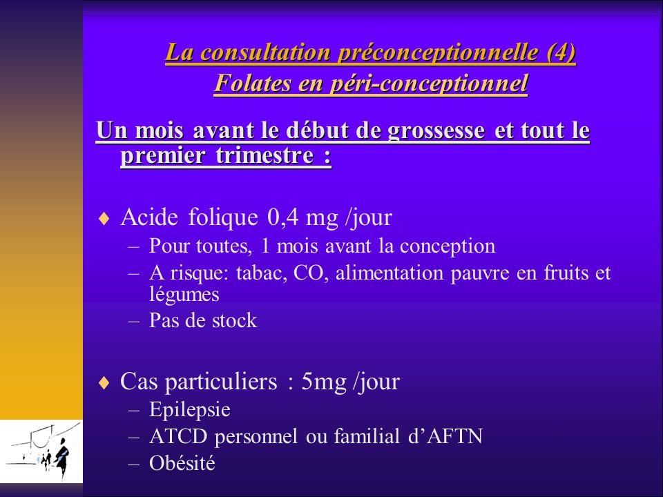 La consultation préconceptionnelle (4) Folates en péri-conceptionnel Un mois avant le début de grossesse et tout le premier trimestre : Acide folique