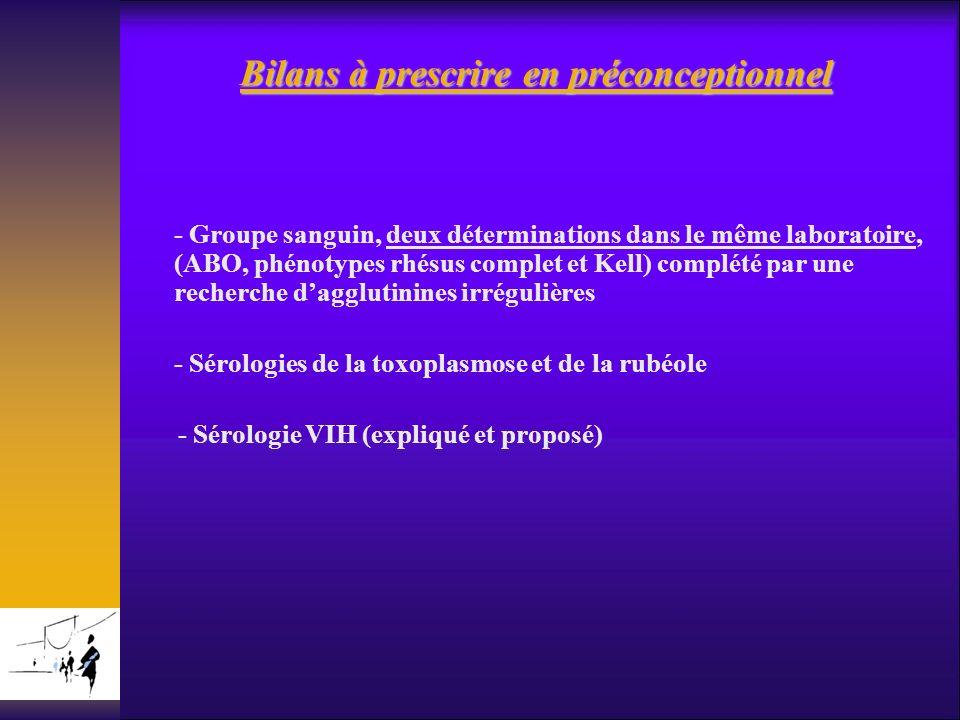 Bilans à prescrire en préconceptionnel - Groupe sanguin, deux déterminations dans le même laboratoire, (ABO, phénotypes rhésus complet et Kell) complé