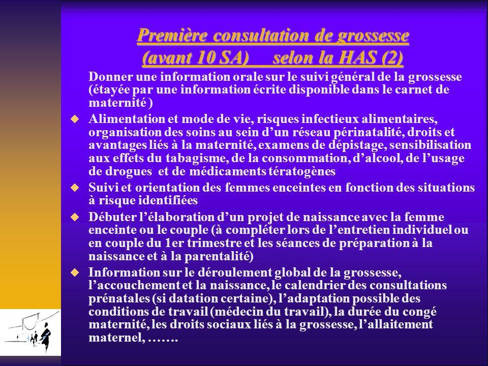 Première consultation de grossesse (avant 10 SA) selon la HAS (2) Donner une information orale sur le suivi général de la grossesse (étayée par une in
