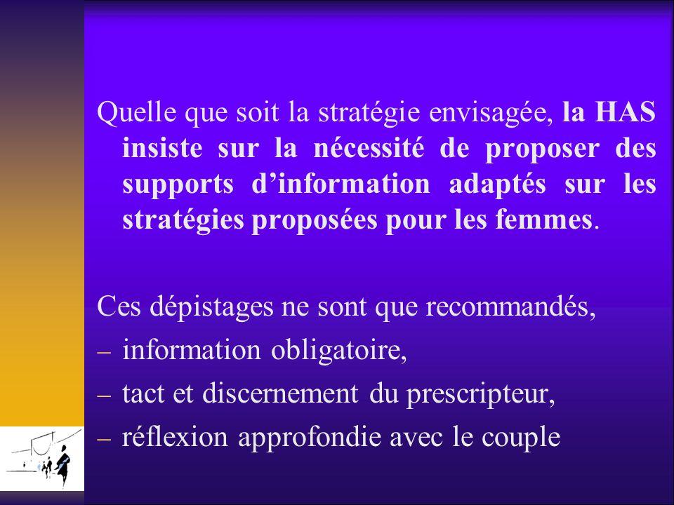Quelle que soit la stratégie envisagée, la HAS insiste sur la nécessité de proposer des supports dinformation adaptés sur les stratégies proposées pou