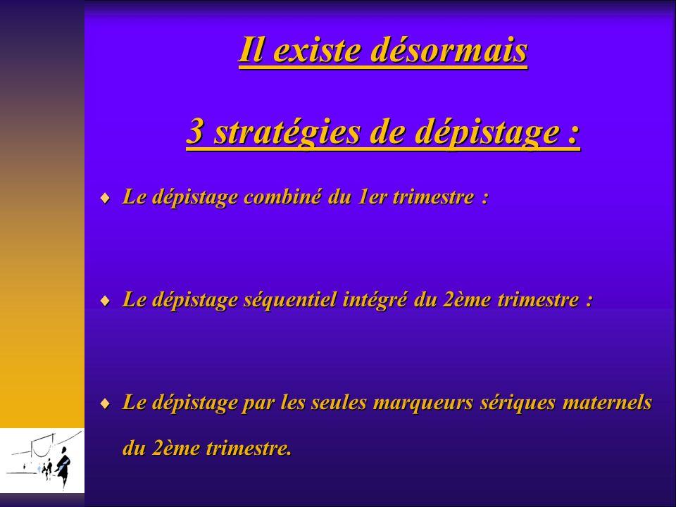 Il existe désormais 3 stratégies de dépistage : Le dépistage combiné du 1er trimestre : Le dépistage combiné du 1er trimestre : Le dépistage séquentie