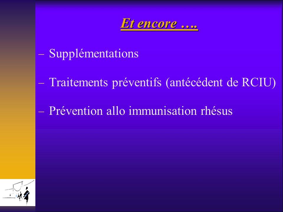 Et encore …. Supplémentations Traitements préventifs (antécédent de RCIU) Prévention allo immunisation rhésus