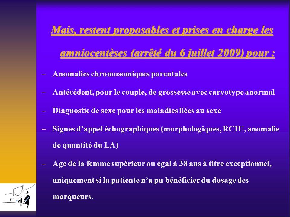 Mais, restent proposables et prises en charge les amniocentèses (arrêté du 6 juillet 2009) pour : Anomalies chromosomiques parentales Antécédent, pour