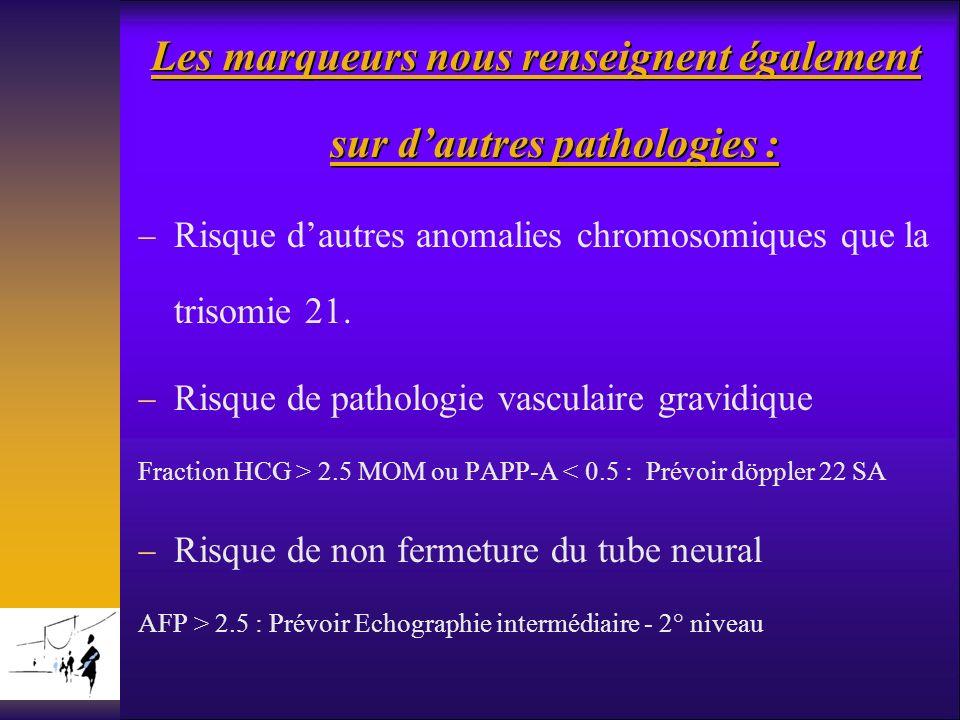 Les marqueurs nous renseignent également sur dautres pathologies : Risque dautres anomalies chromosomiques que la trisomie 21. Risque de pathologie va