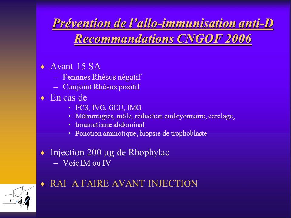 Prévention de lallo-immunisation anti-D Recommandations CNGOF 2006 Avant 15 SA –Femmes Rhésus négatif –Conjoint Rhésus positif En cas de FCS, IVG, GEU