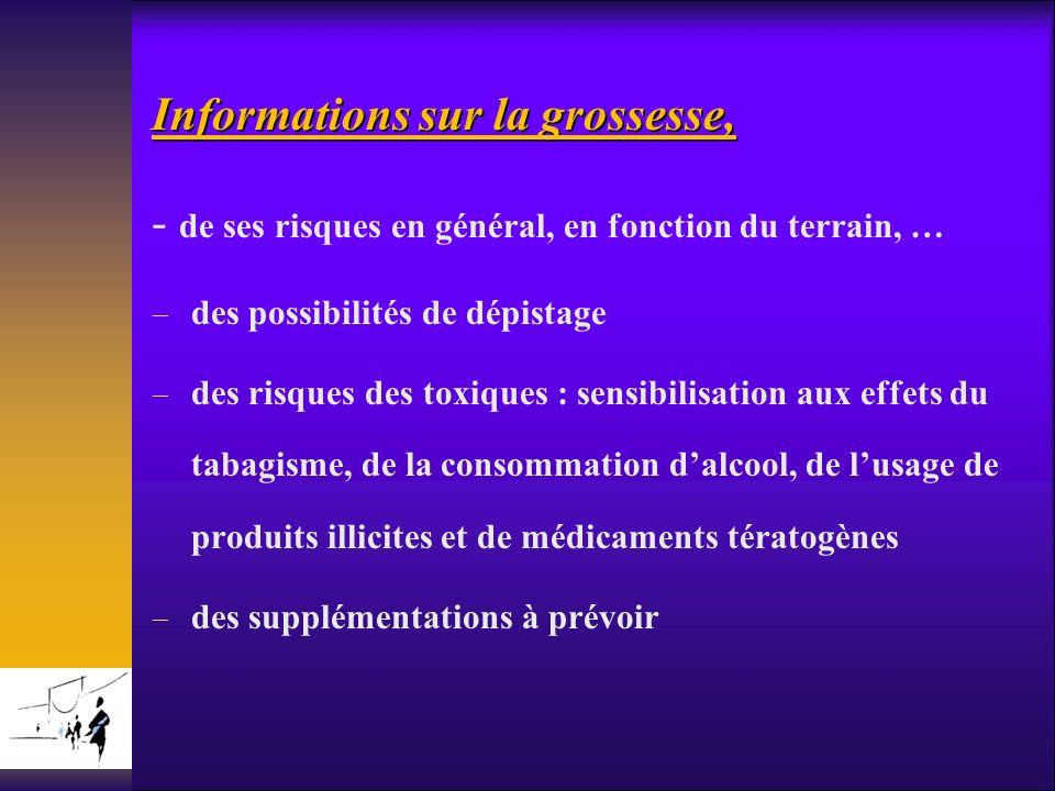 Informations sur la grossesse, - de ses risques en général, en fonction du terrain, … des possibilités de dépistage des risques des toxiques : sensibi