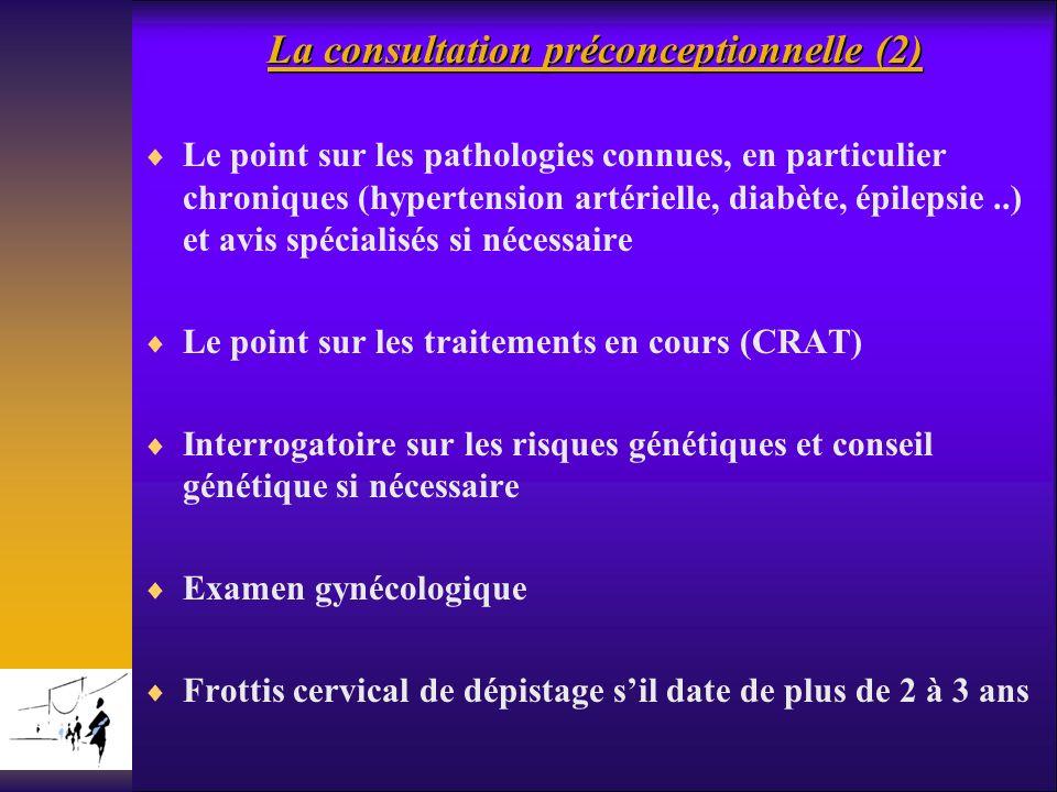 La consultation préconceptionnelle (2) Le point sur les pathologies connues, en particulier chroniques (hypertension artérielle, diabète, épilepsie..)