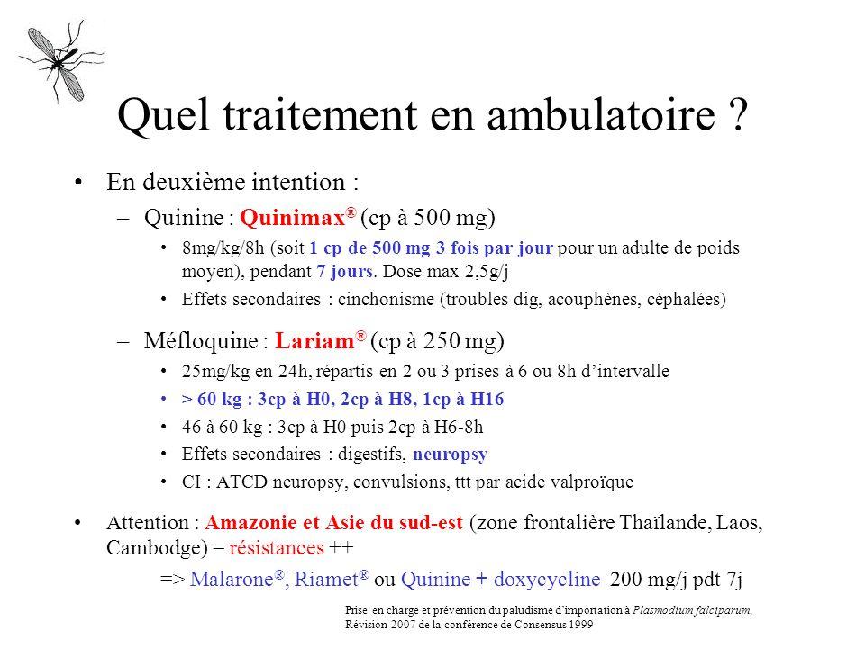 Quel traitement en ambulatoire ? En deuxième intention : –Quinine : Quinimax ® (cp à 500 mg) 8mg/kg/8h (soit 1 cp de 500 mg 3 fois par jour pour un ad