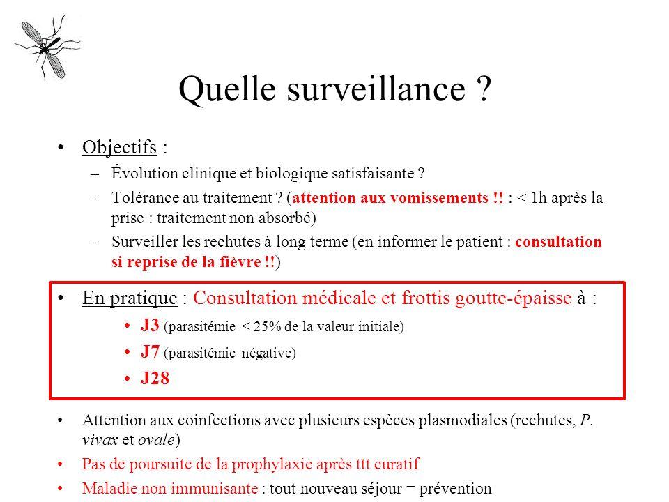 Quelle surveillance ? Objectifs : –Évolution clinique et biologique satisfaisante ? –Tolérance au traitement ? (attention aux vomissements !! : < 1h a