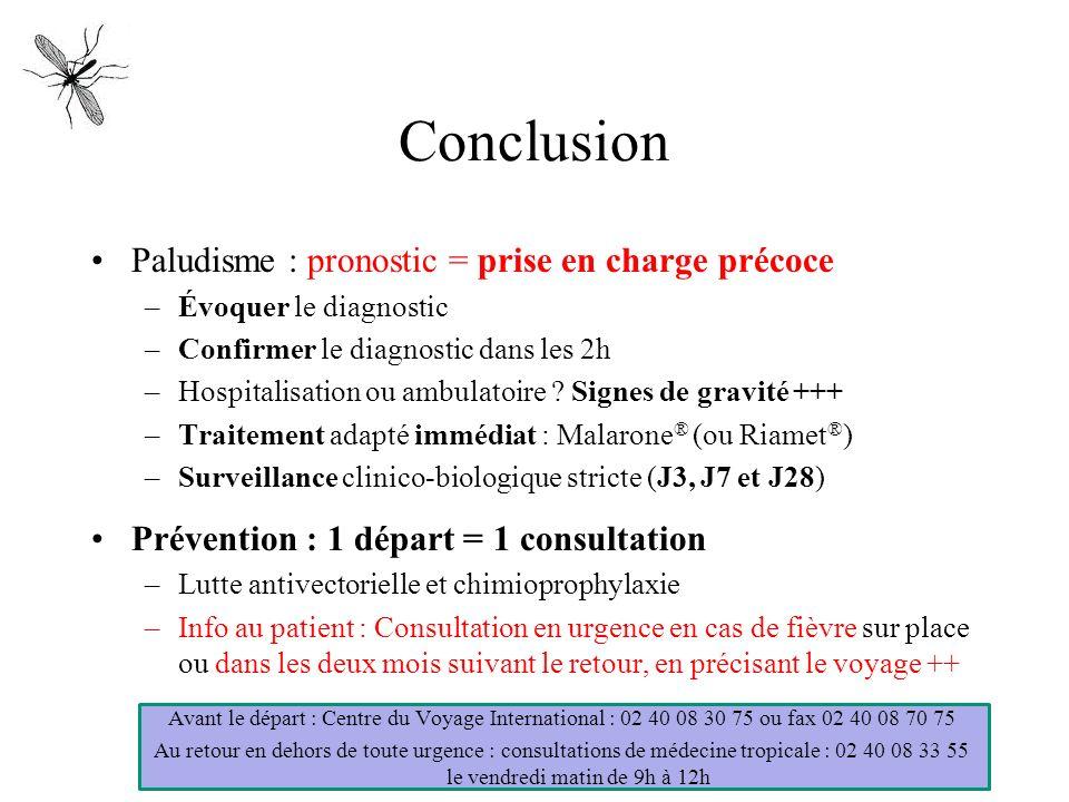 Conclusion Paludisme : pronostic = prise en charge précoce –Évoquer le diagnostic –Confirmer le diagnostic dans les 2h –Hospitalisation ou ambulatoire