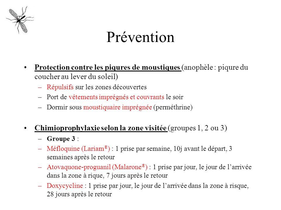 Prévention Protection contre les piqures de moustiques (anophèle : piqure du coucher au lever du soleil) –Répulsifs sur les zones découvertes –Port de