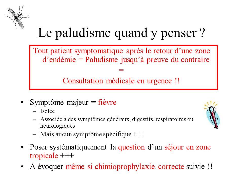 Le paludisme quand y penser ? Tout patient symptomatique après le retour dune zone dendémie = Paludisme jusquà preuve du contraire = Consultation médi