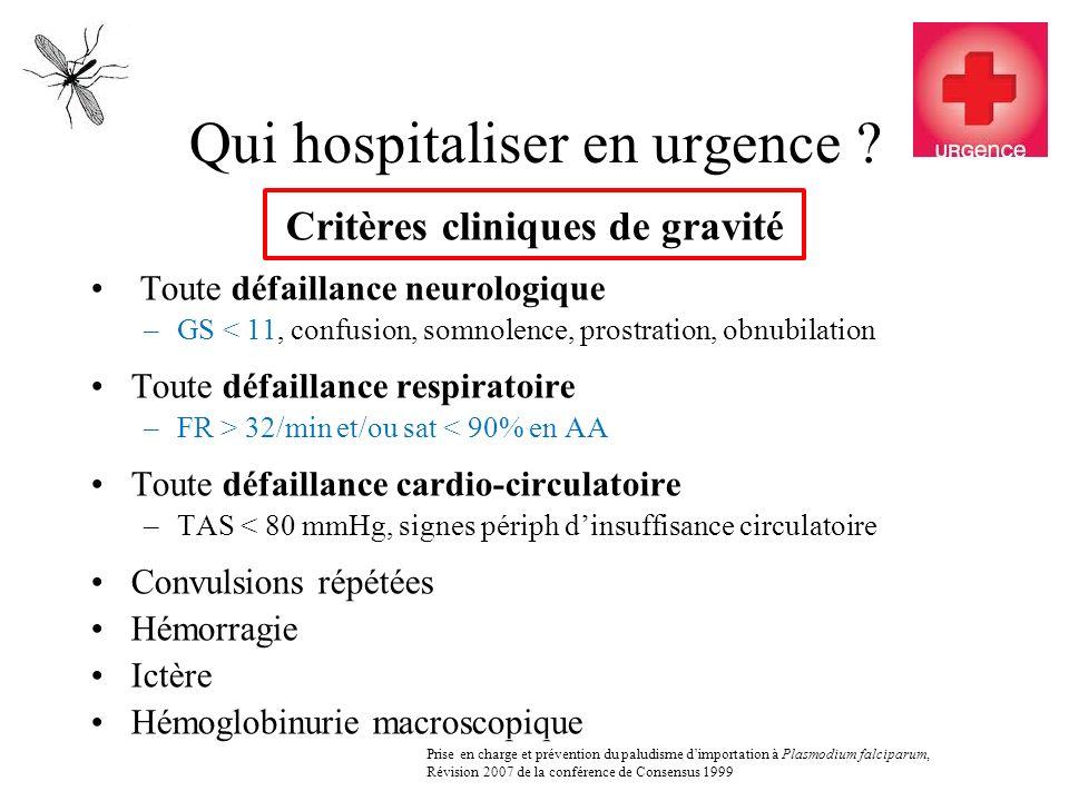 Qui hospitaliser en urgence ? Critères cliniques de gravité Toute défaillance neurologique –GS < 11, confusion, somnolence, prostration, obnubilation