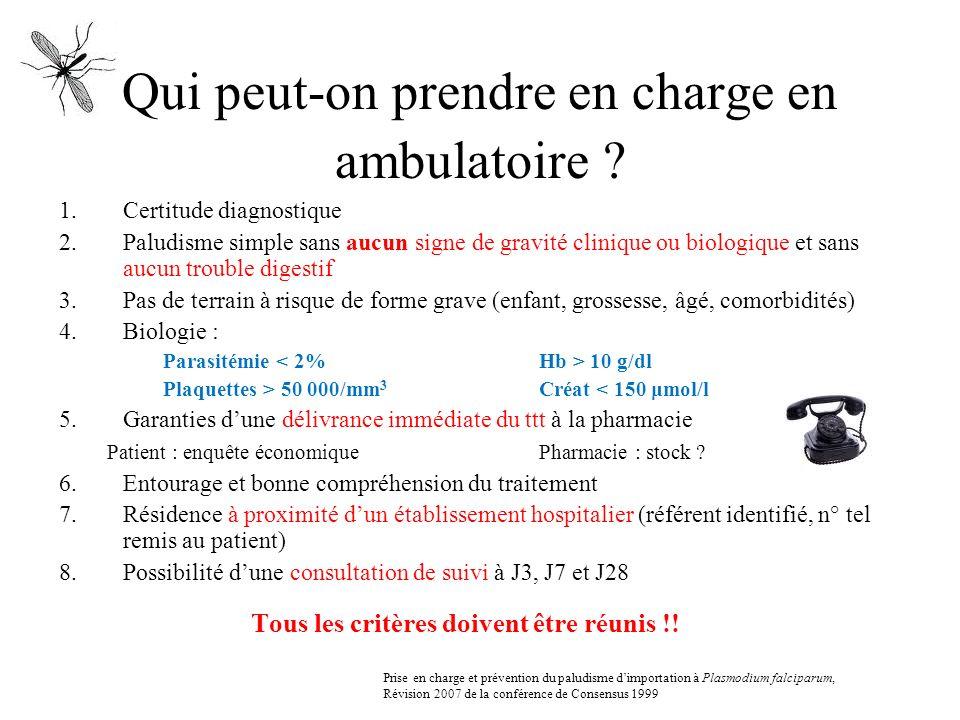 Qui peut-on prendre en charge en ambulatoire ? 1.Certitude diagnostique 2.Paludisme simple sans aucun signe de gravité clinique ou biologique et sans