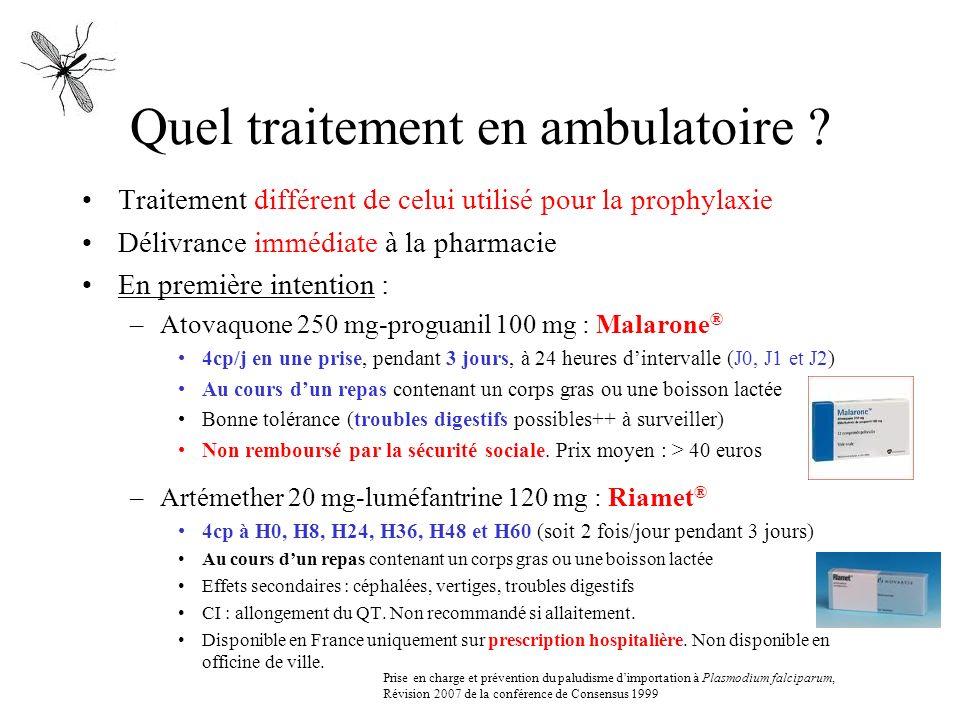 Quel traitement en ambulatoire ? Traitement différent de celui utilisé pour la prophylaxie Délivrance immédiate à la pharmacie En première intention :