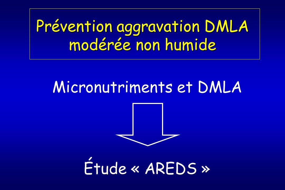 Prévention aggravation DMLA modérée non humide Micronutriments et DMLA Étude « AREDS »
