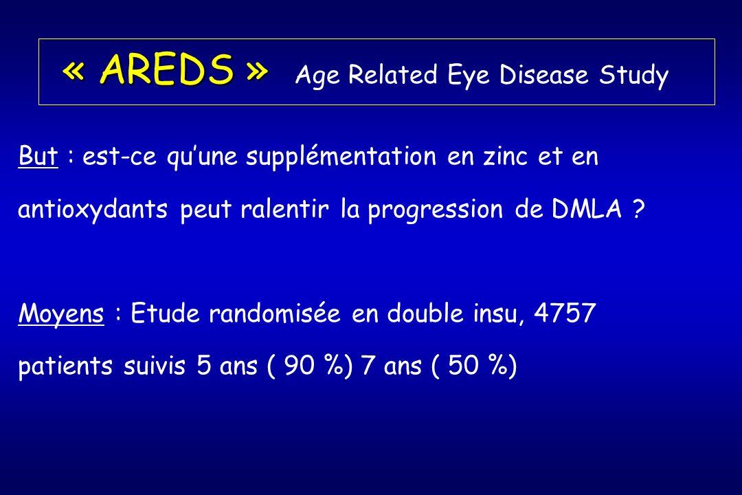 « AREDS » « AREDS » Age Related Eye Disease Study But : est-ce quune supplémentation en zinc et en antioxydants peut ralentir la progression de DMLA .