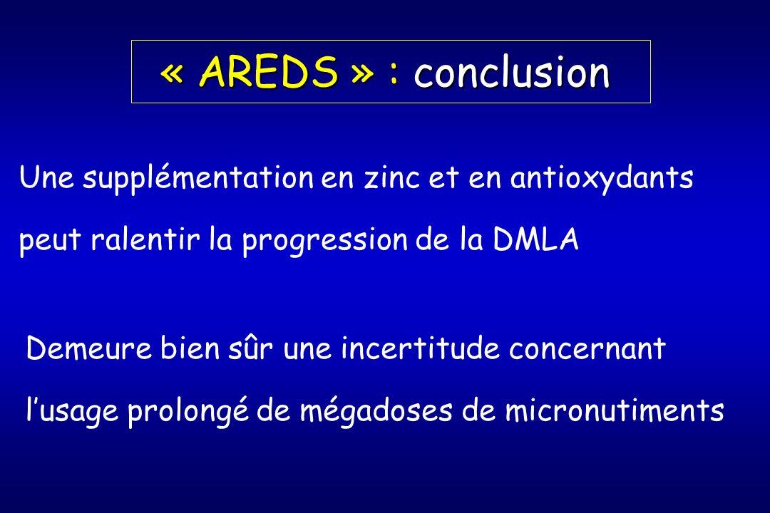 « AREDS » : conclusion Une supplémentation en zinc et en antioxydants peut ralentir la progression de la DMLA Demeure bien sûr une incertitude concernant lusage prolongé de mégadoses de micronutiments