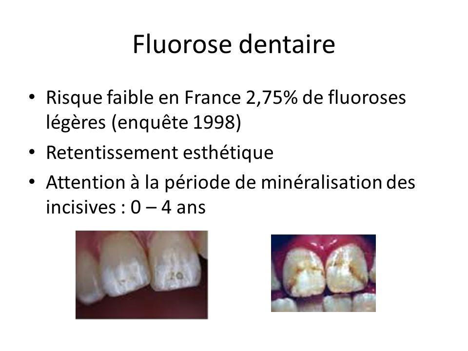 Fluorose dentaire Risque faible en France 2,75% de fluoroses légères (enquête 1998) Retentissement esthétique Attention à la période de minéralisation des incisives : 0 – 4 ans
