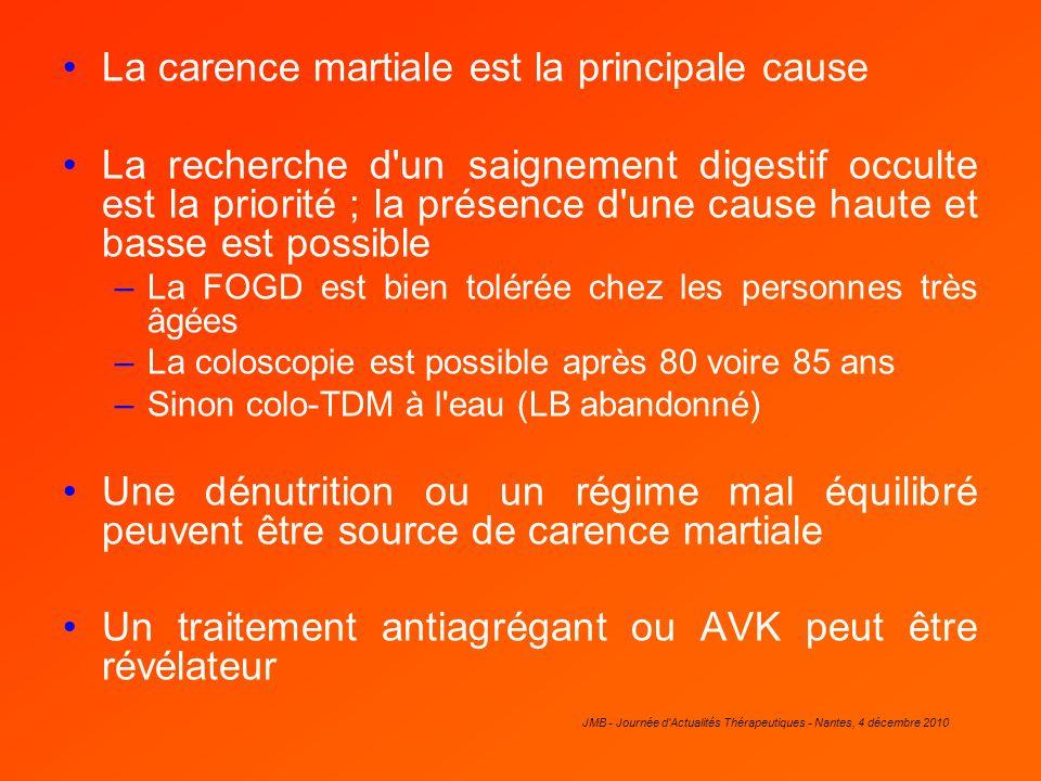 JMB - Journée d'Actualités Thérapeutiques - Nantes, 4 décembre 2010 La carence martiale est la principale cause La recherche d'un saignement digestif