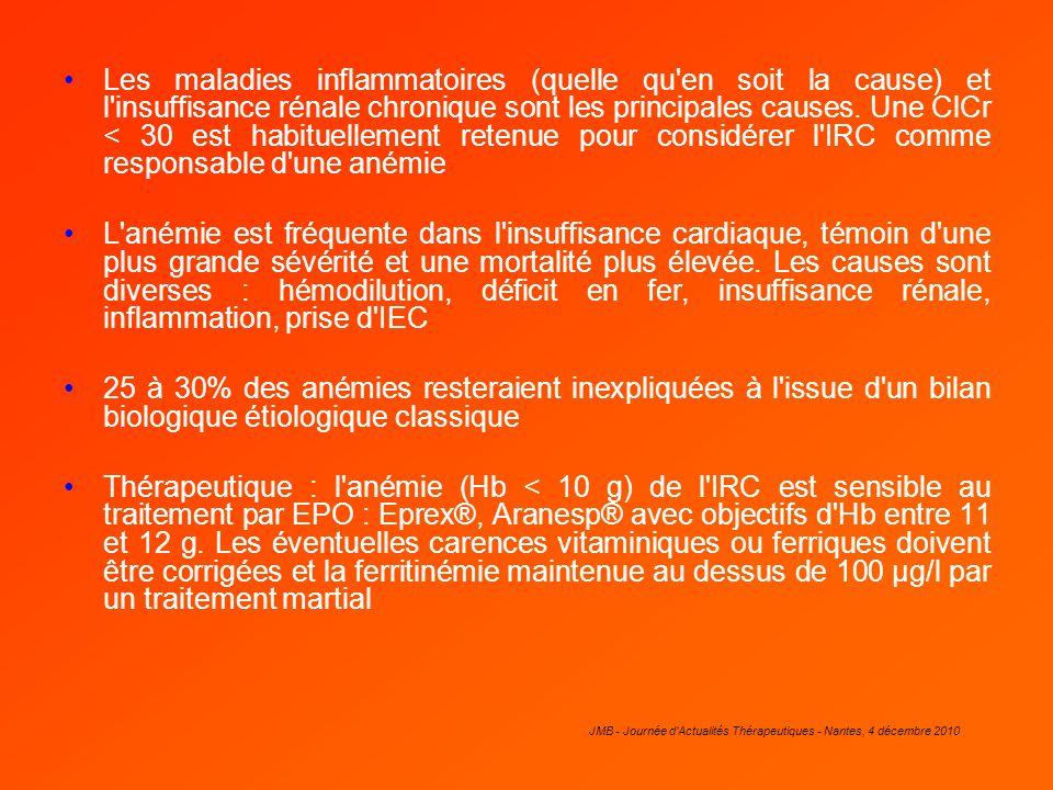 JMB - Journée d'Actualités Thérapeutiques - Nantes, 4 décembre 2010 Les maladies inflammatoires (quelle qu'en soit la cause) et l'insuffisance rénale