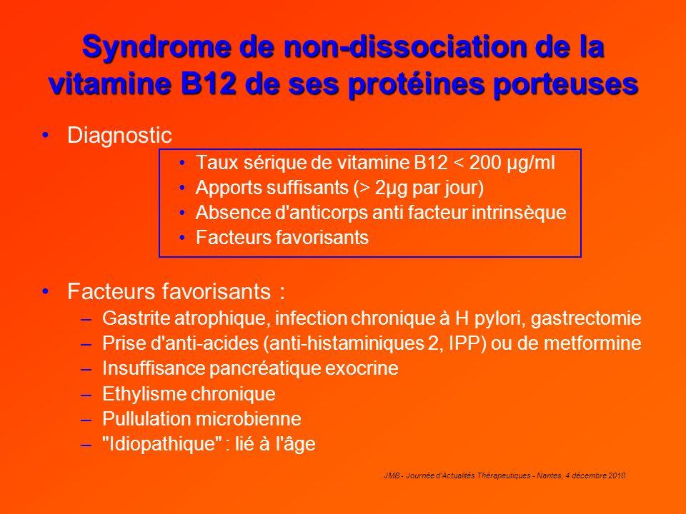 Syndrome de non-dissociation de la vitamine B12 de ses protéines porteuses Diagnostic Taux sérique de vitamine B12 < 200 µg/ml Apports suffisants (> 2