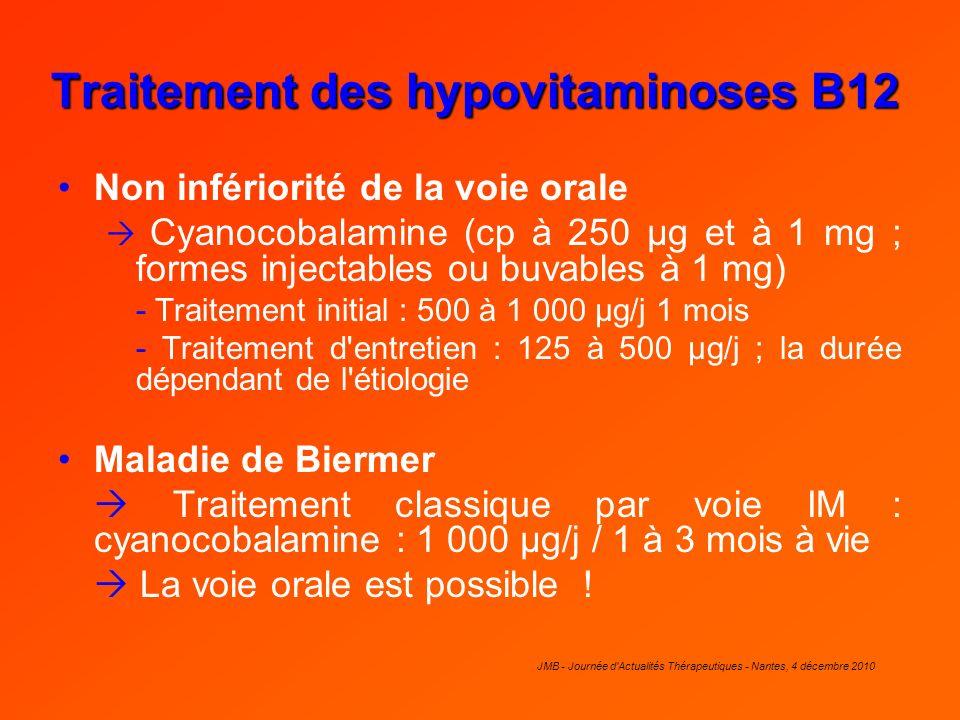 JMB - Journée d'Actualités Thérapeutiques - Nantes, 4 décembre 2010 Traitement des hypovitaminoses B12 Non infériorité de la voie orale Cyanocobalamin
