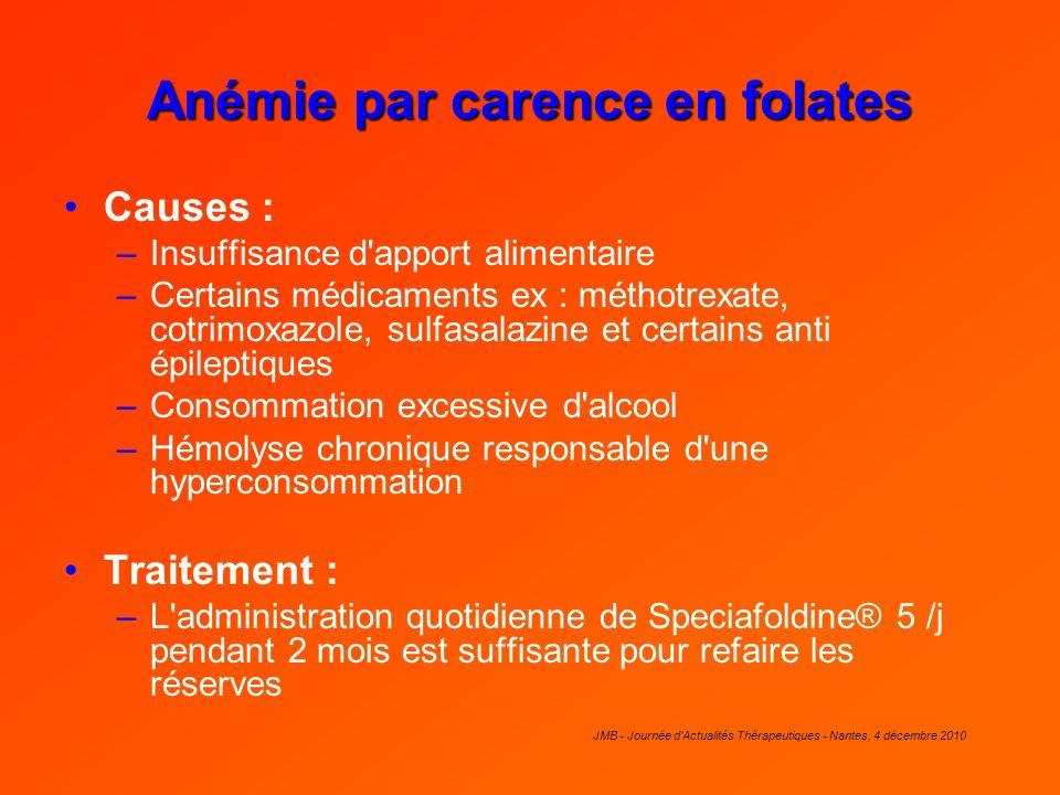 JMB - Journée d'Actualités Thérapeutiques - Nantes, 4 décembre 2010 Anémie par carence en folates Causes : –Insuffisance d'apport alimentaire –Certain