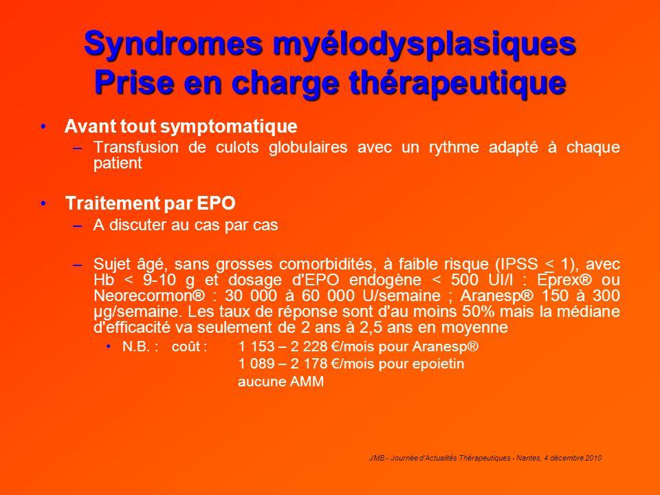 Syndromes myélodysplasiques Prise en charge thérapeutique Avant tout symptomatique –Transfusion de culots globulaires avec un rythme adapté à chaque p