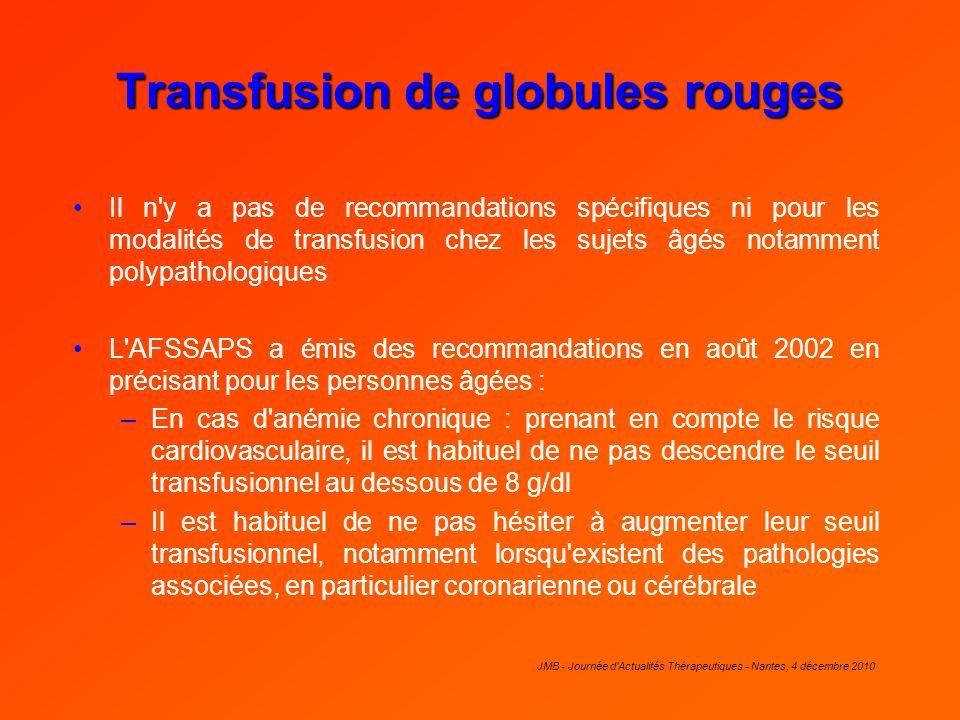 JMB - Journée d'Actualités Thérapeutiques - Nantes, 4 décembre 2010 Transfusion de globules rouges Il n'y a pas de recommandations spécifiques ni pour