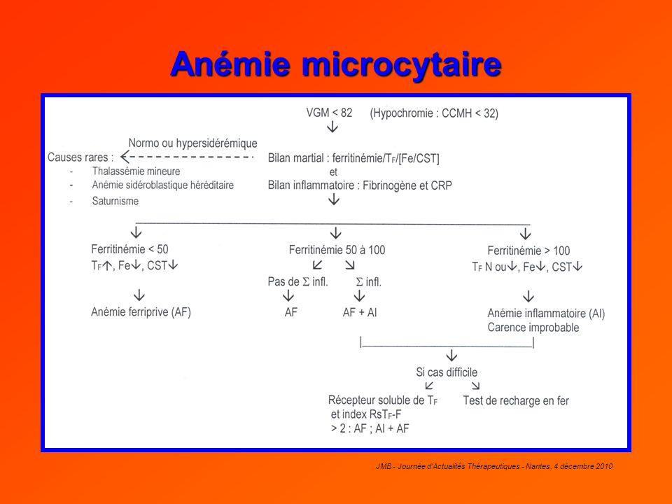 JMB - Journée d'Actualités Thérapeutiques - Nantes, 4 décembre 2010 Anémie microcytaire