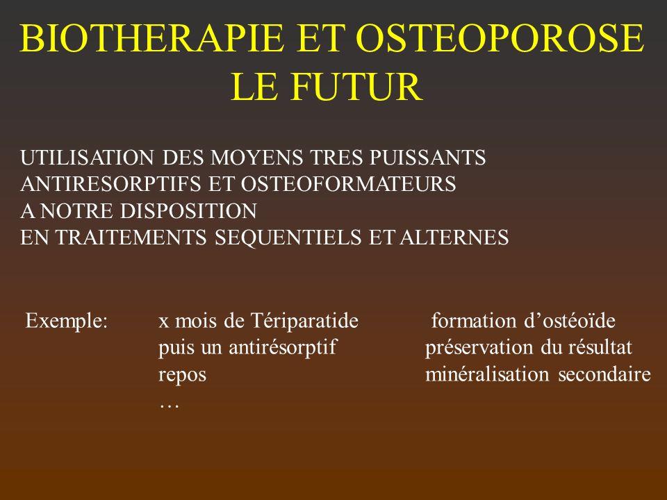 BIOTHERAPIE ET OSTEOPOROSE LE FUTUR UTILISATION DES MOYENS TRES PUISSANTS ANTIRESORPTIFS ET OSTEOFORMATEURS A NOTRE DISPOSITION EN TRAITEMENTS SEQUENT