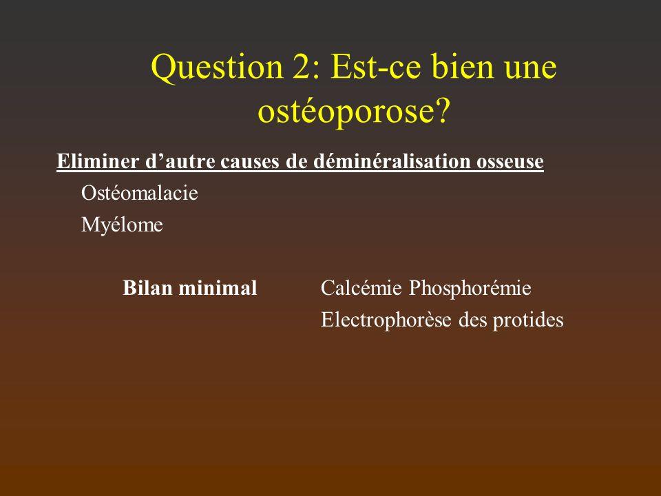 Question 2: Est-ce bien une ostéoporose? Eliminer dautre causes de déminéralisation osseuse Ostéomalacie Myélome Bilan minimalCalcémie Phosphorémie El