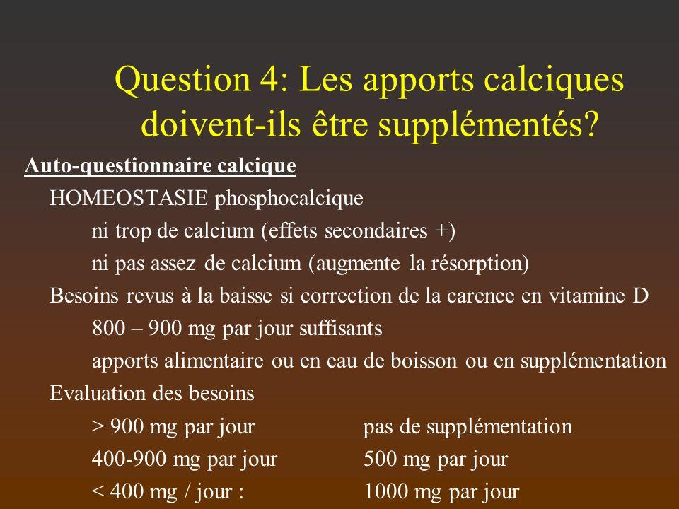 Question 4: Les apports calciques doivent-ils être supplémentés? Auto-questionnaire calcique HOMEOSTASIE phosphocalcique ni trop de calcium (effets se