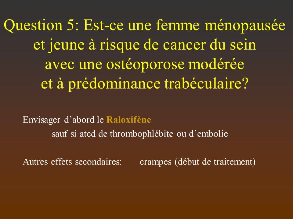 Question 5: Est-ce une femme ménopausée et jeune à risque de cancer du sein avec une ostéoporose modérée et à prédominance trabéculaire? Envisager dab