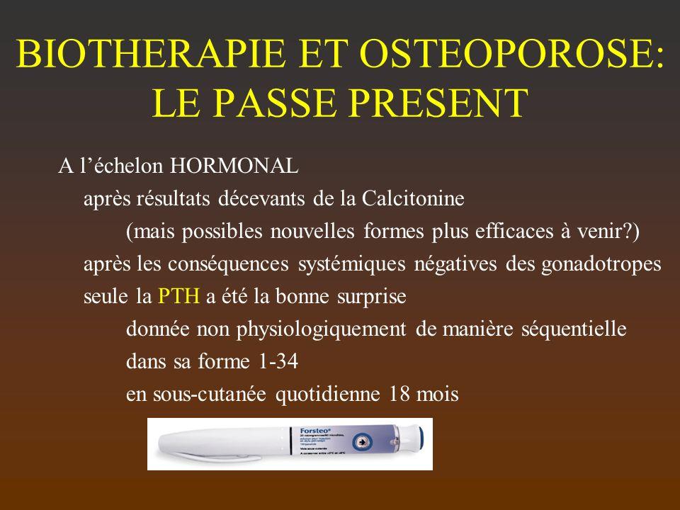 BIOTHERAPIE ET OSTEOPOROSE: LE PASSE PRESENT A léchelon HORMONAL après résultats décevants de la Calcitonine (mais possibles nouvelles formes plus eff