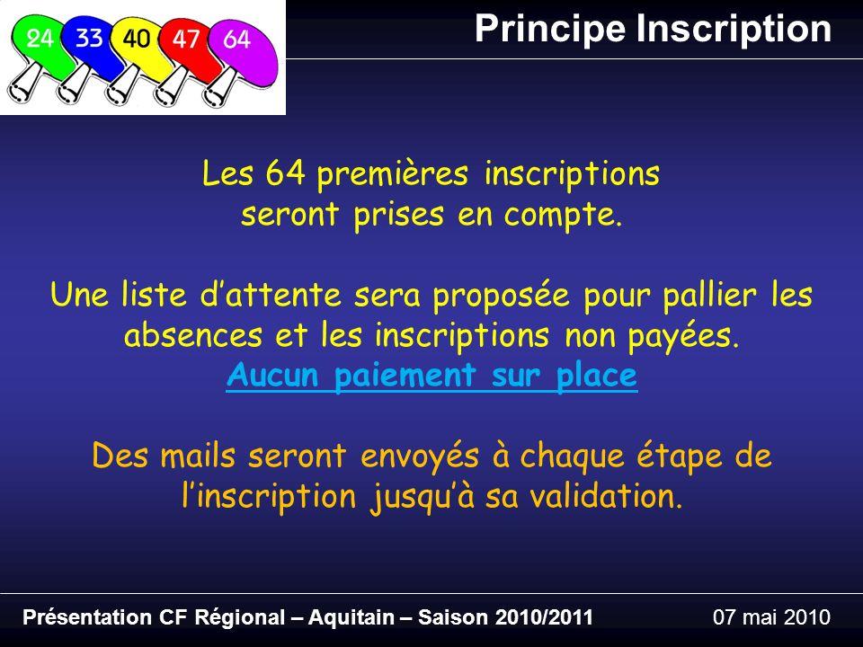 Principe Inscription Présentation CF Régional – Aquitain – Saison 2010/201107 mai 2010 Les 64 premières inscriptions seront prises en compte.