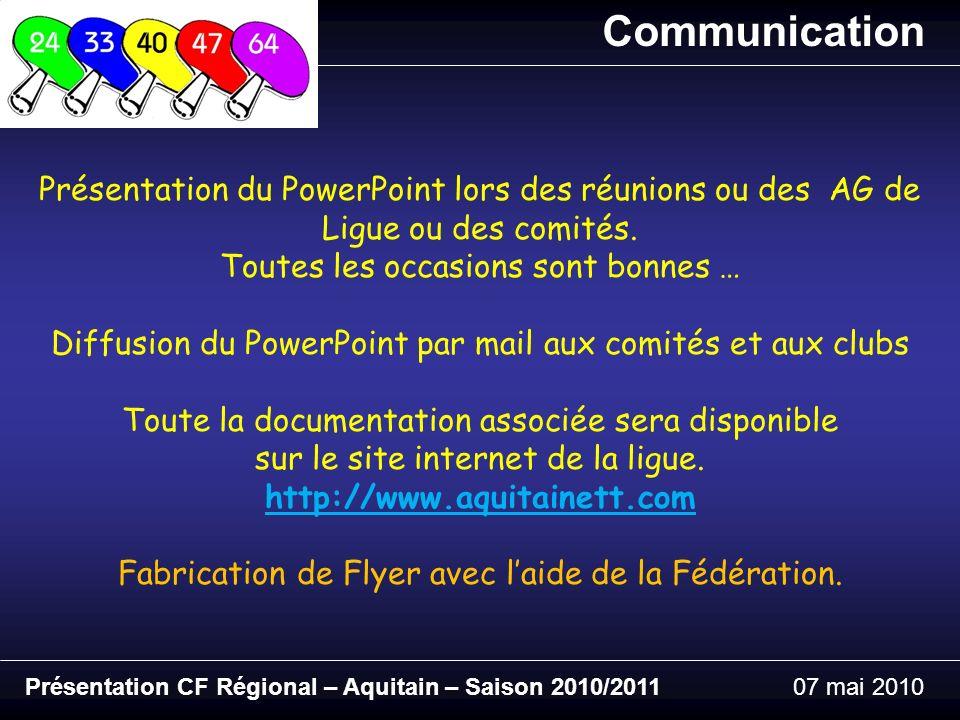 Présentation CF Régional – Aquitain – Saison 2010/201107 mai 2010 Communication Présentation du PowerPoint lors des réunions ou des AG de Ligue ou des comités.