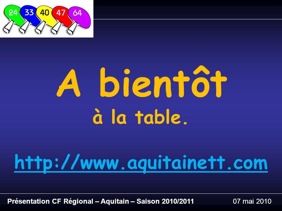 Présentation CF Régional – Aquitain – Saison 2010/201107 mai 2010 A bientôt à la table.