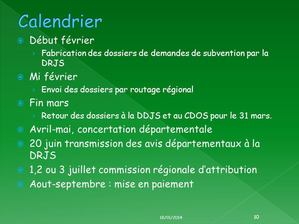 Début février Fabrication des dossiers de demandes de subvention par la DRJS Mi février Envoi des dossiers par routage régional Fin mars Retour des dossiers à la DDJS et au CDOS pour le 31 mars.