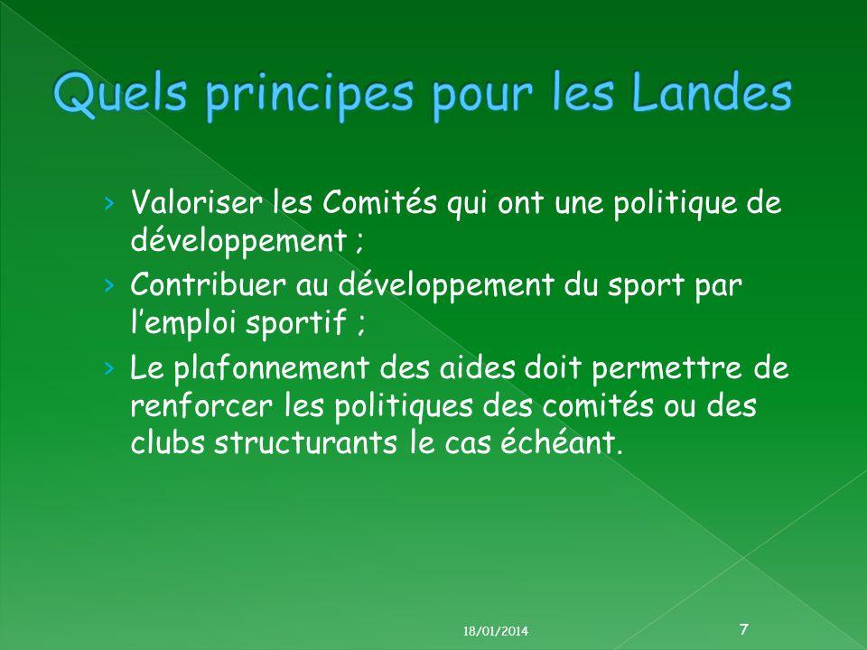 Valoriser les Comités qui ont une politique de développement ; Contribuer au développement du sport par lemploi sportif ; Le plafonnement des aides doit permettre de renforcer les politiques des comités ou des clubs structurants le cas échéant.