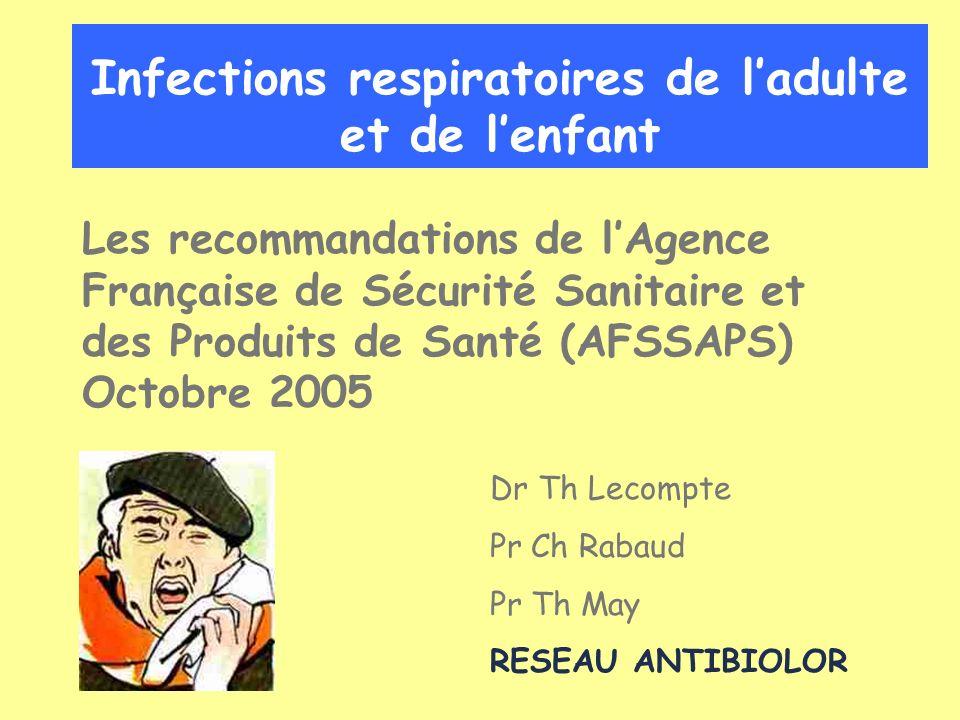 Infections respiratoires Bronchites Pneumopathies –Adultes –Enfant
