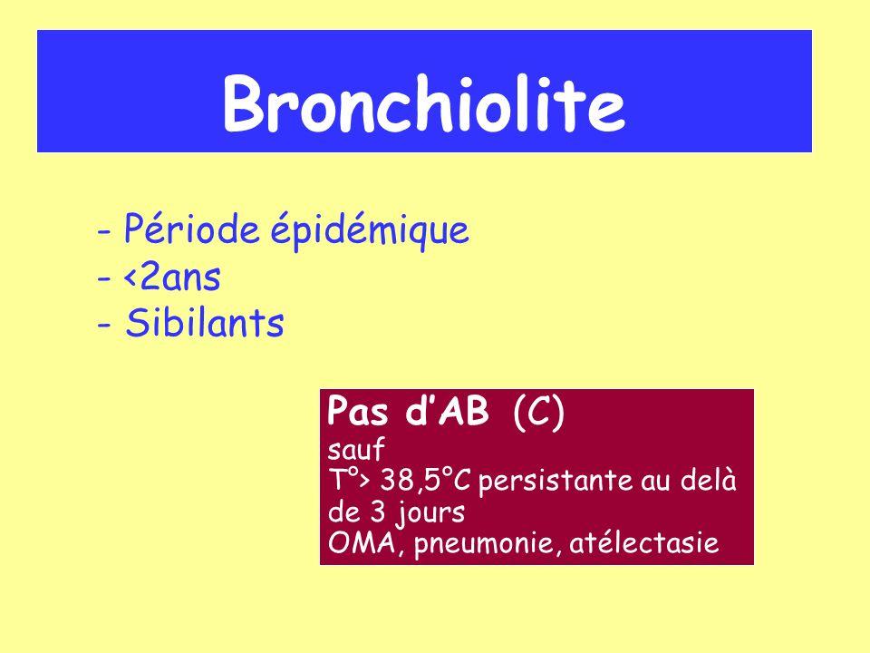 Bronchite ou trachéobronchite Ronchi + sous crépitants Pas dAB (AP) sauf T°> 38,5°C persistante au delà de 3 j