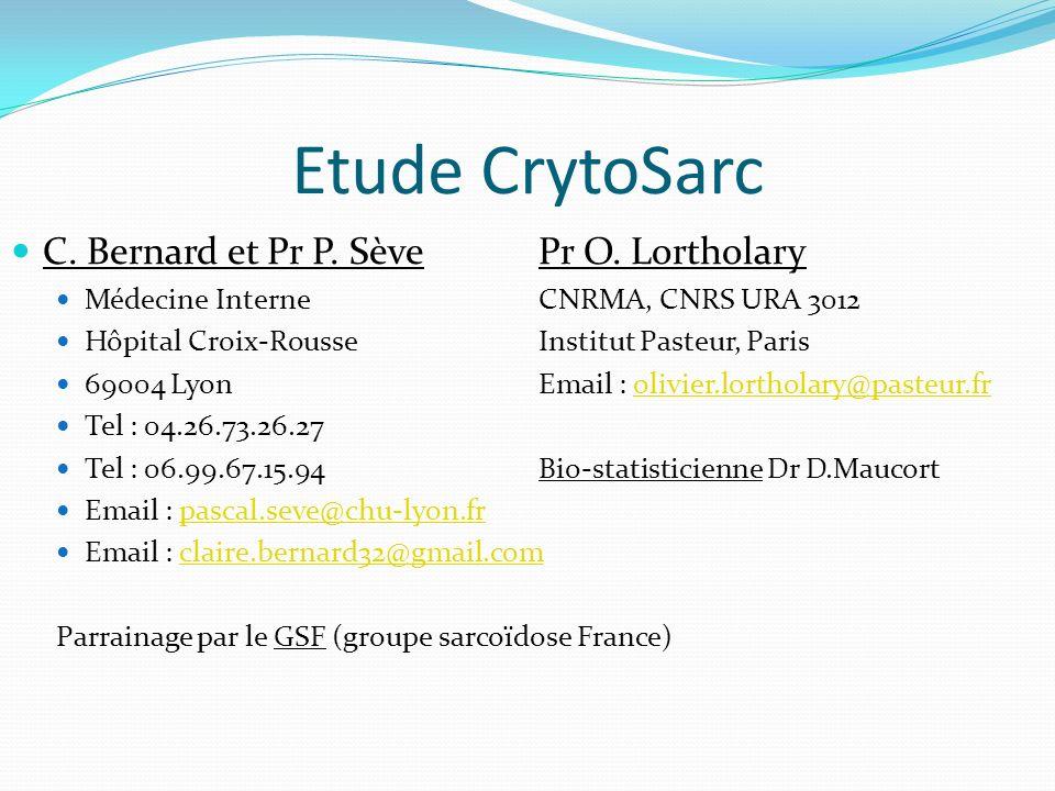 Etude CrytoSarc C. Bernard et Pr P. SèvePr O.