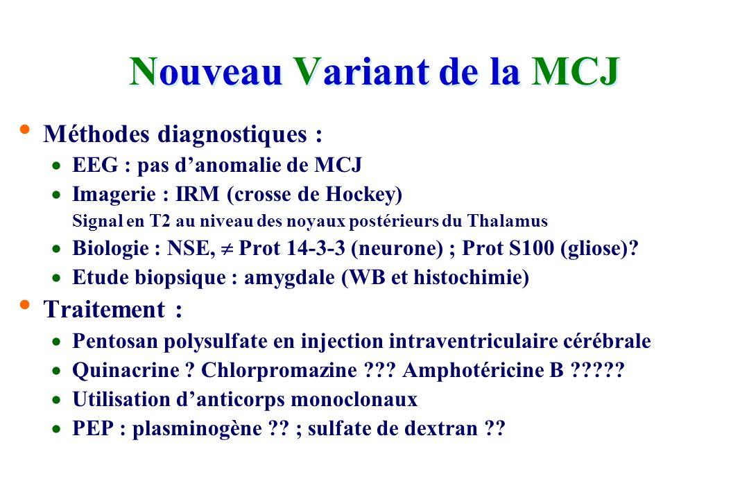 Nouveau variant de Maladie de Creutzfeldt-Jakob 149 cas en G.B. (premier décès 1995) [2 cas post-transfusionnel] 14 cas en France – 14 dans le reste d