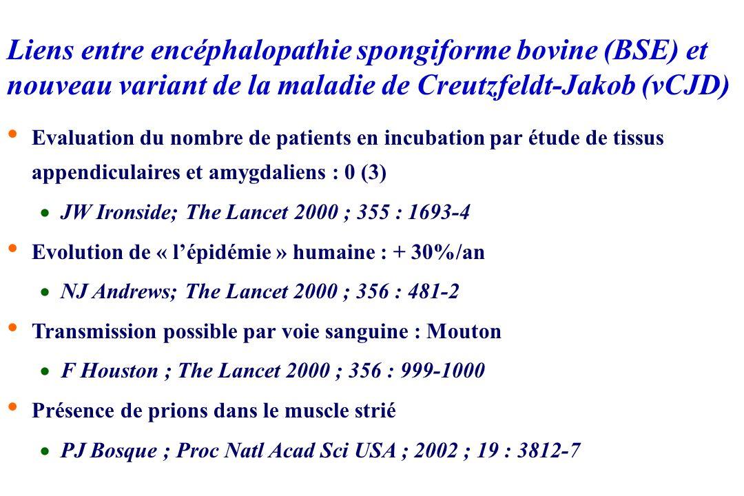 Liens BSE vCJD Données épidémiologiques Transmissible aux félidés : FSE, 1990 ; > 90 cas PrPres (biglycosylée) identique dans les cas de vCJD ; MCJ (s