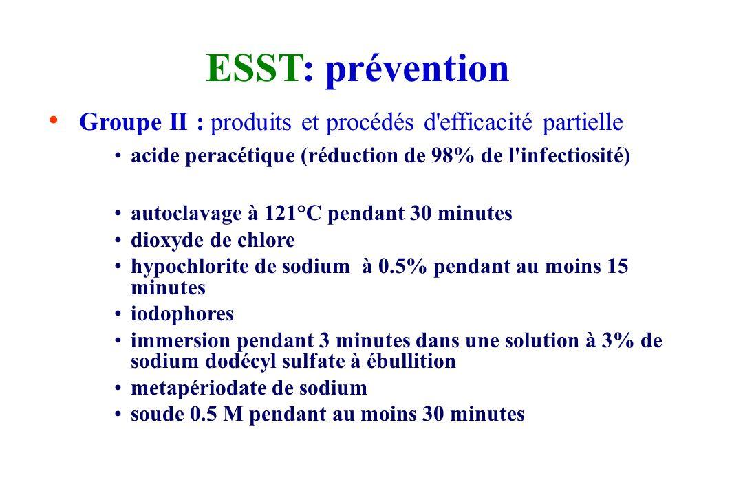 ESST: prévention Groupe I : produits et procédés inefficaces chaleur sèche éthanol formaldéhyde gazeux glutaraldéhyde soluté de formaldéhyde (formol)