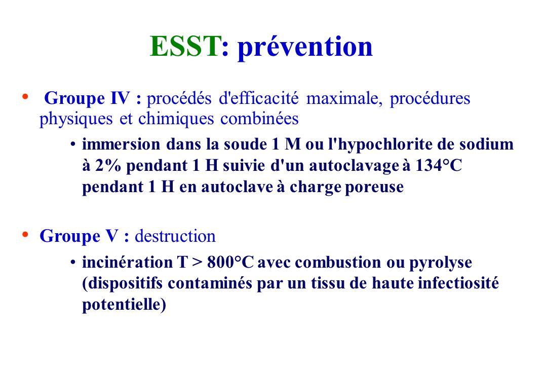 ESST: prévention Groupe III : procédés d'efficacité importante, physiques ou chimiques immersion dans l'hypochlorite de sodium à 2% pendant 1 heure ++