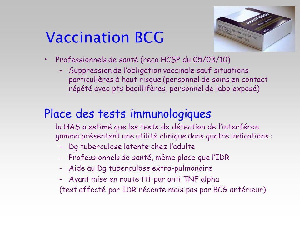 Vaccination BCG Professionnels de santé (reco HCSP du 05/03/10) –Suppression de lobligation vaccinale sauf situations particulières à haut risque (per