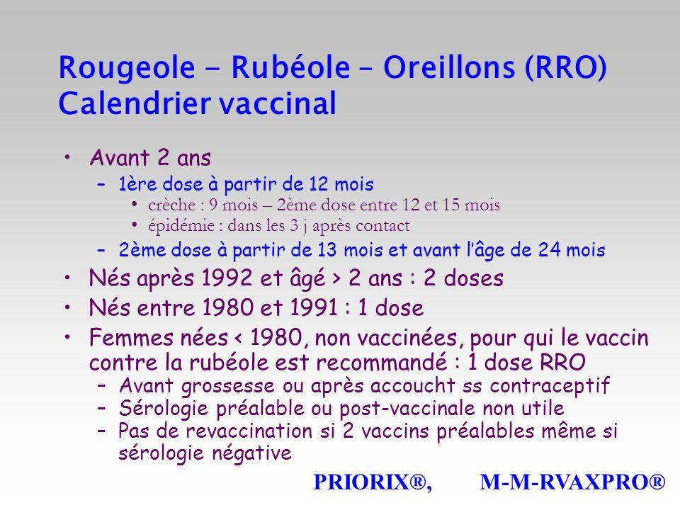 Rougeole - Rubéole – Oreillons (RRO) Calendrier vaccinal Avant 2 ans –1ère dose à partir de 12 mois crèche : 9 mois – 2ème dose entre 12 et 15 mois ép